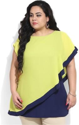 Amydus Casual 3/4 Sleeve Self Design Women's Blue, Green Top