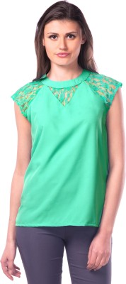 Miss Chase Party Sleeveless Solid Women's Light Green Top