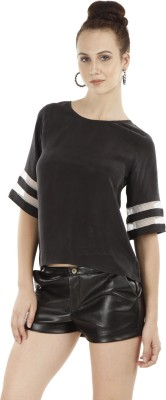 Fuziv Casual Short Sleeve Solid Women's Black Top