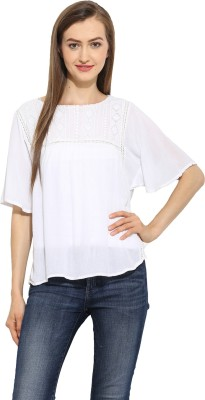 Free & Young Casual Short Sleeve Solid Women's White Top