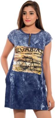 Feminine Casual Short Sleeve Graphic Print Women's Blue Top