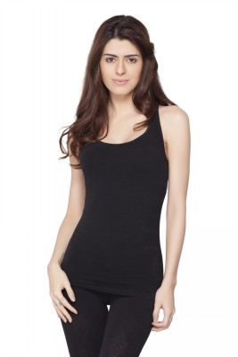 Channel Nine Casual Sleeveless Solid Women's Black Top
