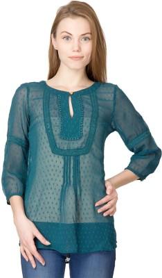 Latin Quarters Casual 3/4 Sleeve Self Design Women's Dark Green Top