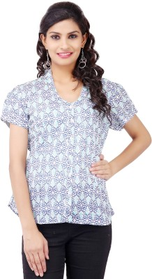 Pear Blossom Casual Short Sleeve Printed Women's Blue Top