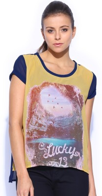 HRX by Hrithik Roshan Casual Short Sleeve Printed Women's Yellow Top