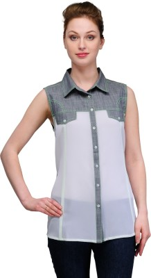 Gloria Casual Sleeveless Self Design Women's White Top