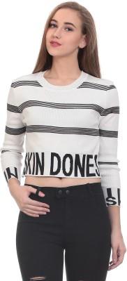Saiints Casual Full Sleeve Striped Women's White Top