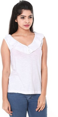 Old Khaki Casual Sleeveless Solid Women's White Top