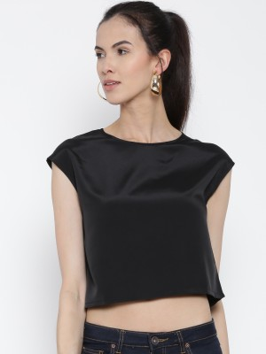 Rat Trap Casual Sleeveless Solid Women's Black Top