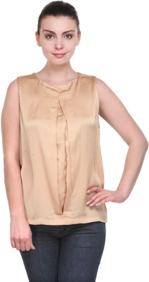 Kami Party Sleeveless Solid Women's Brown Top