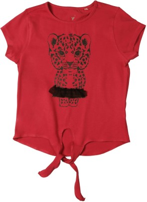 Allen Solly Casual Short Sleeve Printed Girl's Red Top