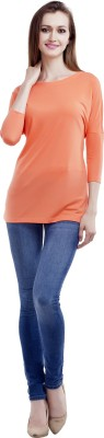 MansiCollections Casual 3/4 Sleeve Solid Women's Orange Top
