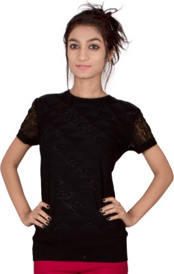 TIMBERLAKE Casual Short Sleeve Solid Women's Black Top