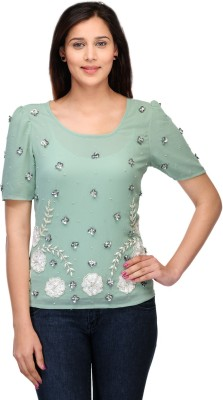 Lmode Casual, Party Short Sleeve Embellished Women's Light Green Top