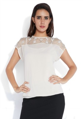 Park Avenue Formal Cape Sleeve Solid Women's White Top