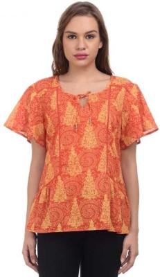 Orange Plum Casual Short Sleeve Printed Women's Orange Top