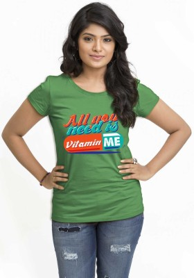 Wear Your Opinion Casual Short Sleeve Printed Women,s Green Top