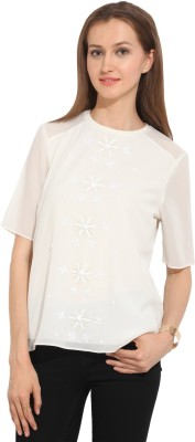 Honey & B Casual Short Sleeve Embellished Women,s White Top
