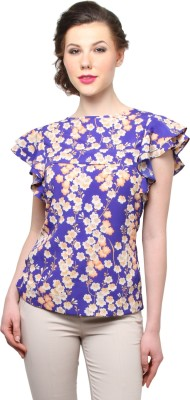 Moderno Casual Butterfly Sleeve Floral Print Women's Blue Top