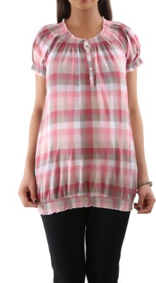 Kriti Western Maternity Casual Puff Sleeve Printed Women's Pink Top