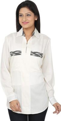 CraftZen Casual Full Sleeve Solid Women's Grey, White Top