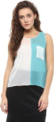 Avirate Casual Sleeveless Solid Women's Light Blue Top