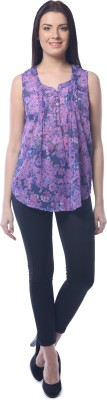 Chloe Casual Sleeveless Floral Print Women,s Purple, Blue Top