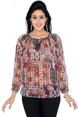 Thinc Casual Full Sleeve Printed Women's Red Top