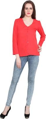 Eva De Moda Casual Full Sleeve Solid Women's Orange Top