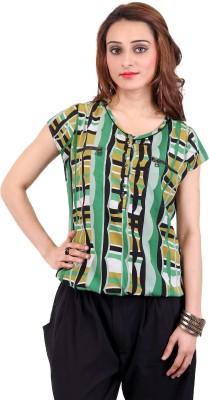 Nagpal Radio Corp Casual Short Sleeve Printed Women's Black Top