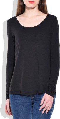 London Off Casual Full Sleeve Solid Women's Black Top
