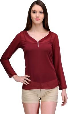 TheGudLook Casual Full Sleeve Solid Women's Maroon Top