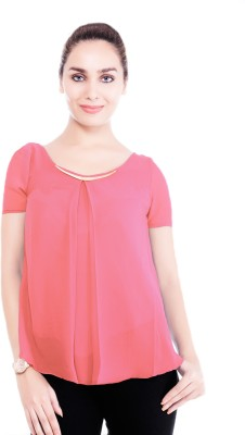 Revoure Formal, Casual Short Sleeve Solid Women's Pink Top