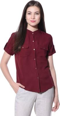 Uptownie Lite Casual Short Sleeve Solid Women's Maroon Top