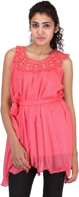 Sheezworld Casual Sleeveless Polka Print Women's Pink Top