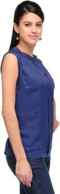 Shree Krishna Enterprise Party Sleeveless Solid Girl's Blue Top
