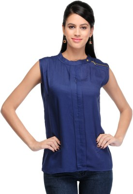Dolla Casual, Festive, Formal, Lounge Wear, Party, Sports, Wedding Sleeveless Solid Women's Blue Top