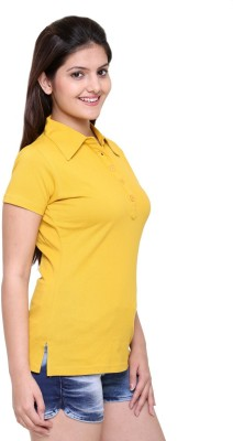 In Love Solid Women's Polo Neck Yellow T-Shirt