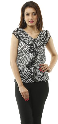 Lynda Casual Cap sleeve Printed Women's Black, White Top