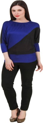 Komal Trading Co Wedding, Casual, Party 3/4 Sleeve Solid Women's Black, Blue Top