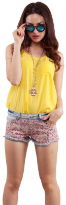 Living Doll Casual Sleeveless Solid Women's Yellow Top