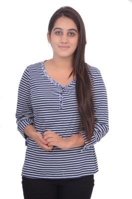 #Lets Selfie Casual 3/4 Sleeve Striped Women's Blue Top