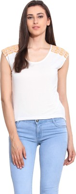 Mystree Casual Sleeveless Solid Women's White Top