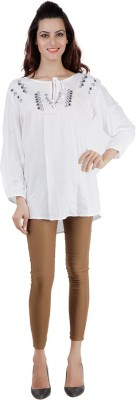 Pret a Porter Casual Full Sleeve Embellished Women's White Top