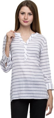 One Femme Party, Formal 3/4 Sleeve Striped Women's White Top