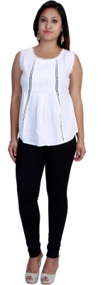 Rich Creations Casual, Party Sleeveless Solid Women's White Top