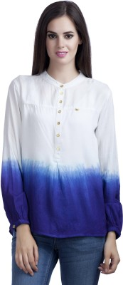 MansiCollections Casual Full Sleeve Solid Women's White, Blue Top