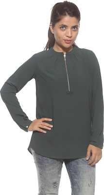 Pepe Casual Full Sleeve Solid Women's Green Top