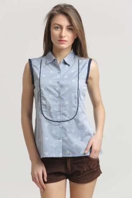 Moda Elementi Casual Sleeveless Printed Women's Blue Top