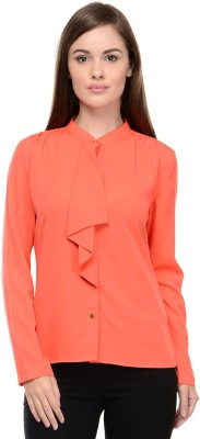 I Know Casual Full Sleeve Solid Women,s Orange Top